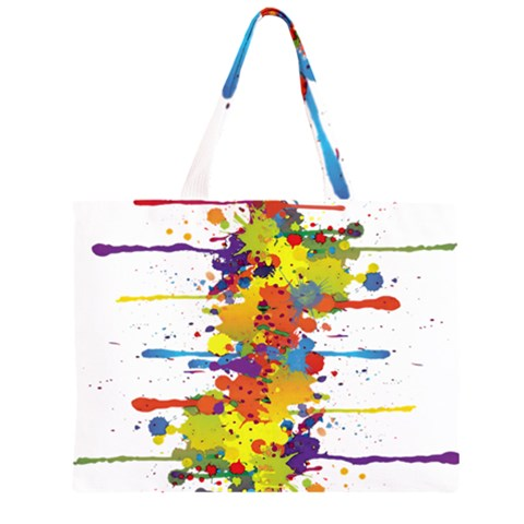 Crazy Multicolored Double Running Splashes Large Tote Bag