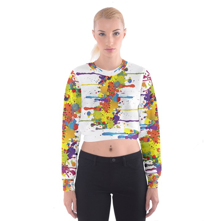 Crazy Multicolored Double Running Splashes Women s Cropped Sweatshirt