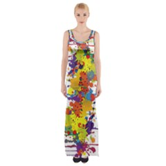 Crazy Multicolored Double Running Splashes Maxi Thigh Split Dress