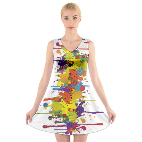 Crazy Multicolored Double Running Splashes V-Neck Sleeveless Skater Dress
