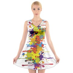 Crazy Multicolored Double Running Splashes V Neck Sleeveless Skater Dress