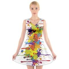 Crazy Multicolored Double Running Splashes V-Neck Sleeveless Skater Dress