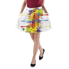 Crazy Multicolored Double Running Splashes A-Line Pocket Skirt