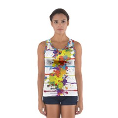 Crazy Multicolored Double Running Splashes Women s Sport Tank Top