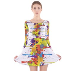 Crazy Multicolored Double Running Splashes Long Sleeve Velvet Skater Dress