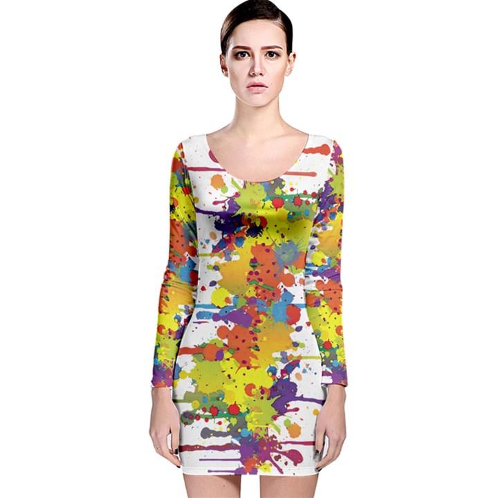 Crazy Multicolored Double Running Splashes Long Sleeve Velvet Bodycon Dress