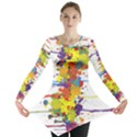Crazy Multicolored Double Running Splashes Long Sleeve Tunic  View1