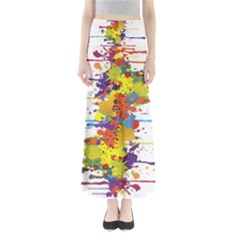 Crazy Multicolored Double Running Splashes Maxi Skirts