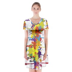 Crazy Multicolored Double Running Splashes Short Sleeve V Neck Flare Dress