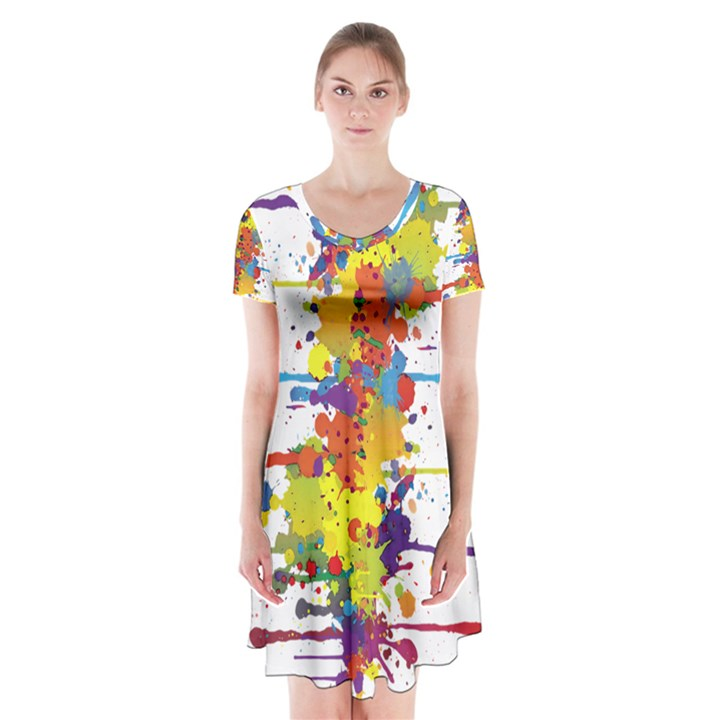 Crazy Multicolored Double Running Splashes Short Sleeve V-neck Flare Dress