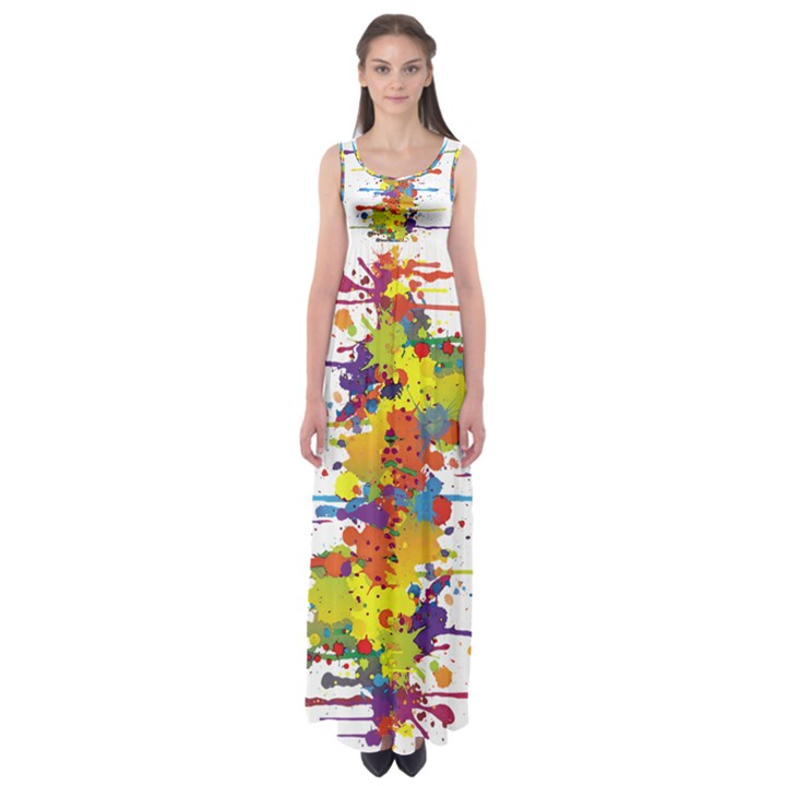 Crazy Multicolored Double Running Splashes Empire Waist Maxi Dress