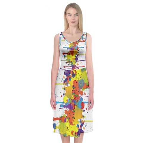 Crazy Multicolored Double Running Splashes Midi Sleeveless Dress