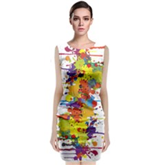 Crazy Multicolored Double Running Splashes Classic Sleeveless Midi Dress