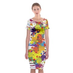 Crazy Multicolored Double Running Splashes Classic Short Sleeve Midi Dress