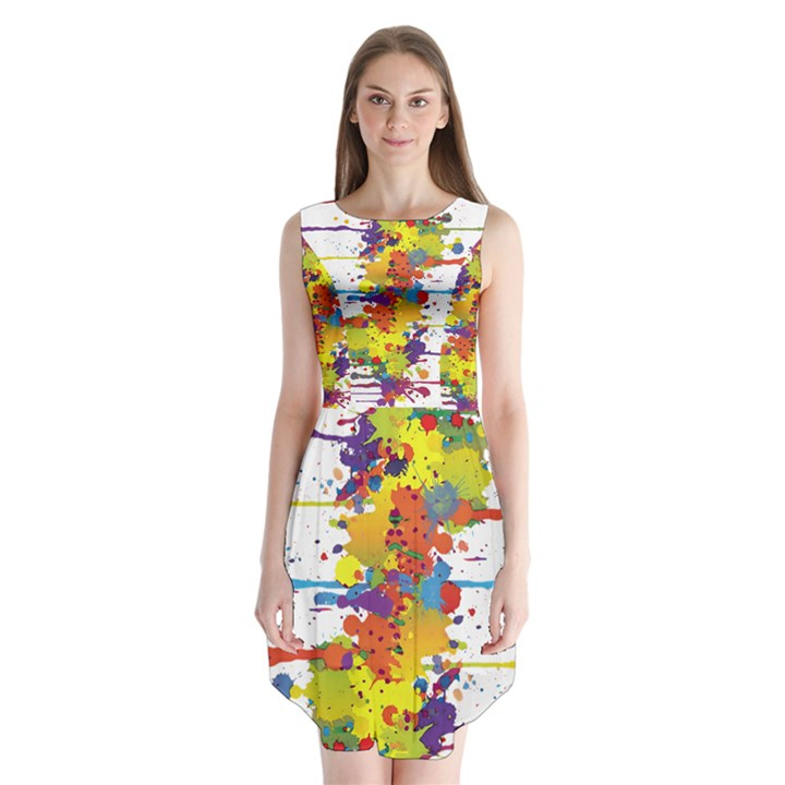 Crazy Multicolored Double Running Splashes Sleeveless Chiffon Dress