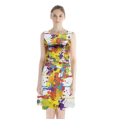 Crazy Multicolored Double Running Splashes Sleeveless Chiffon Waist Tie Dress