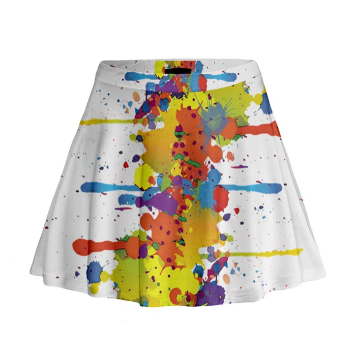 Crazy Multicolored Double Running Splashes Mini Flare Skirt