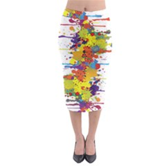 Crazy Multicolored Double Running Splashes Midi Pencil Skirt
