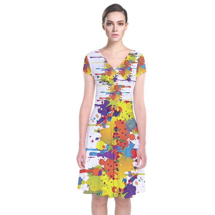 Crazy Multicolored Double Running Splashes Short Sleeve Front Wrap Dress