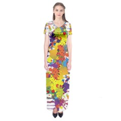 Crazy Multicolored Double Running Splashes Short Sleeve Maxi Dress
