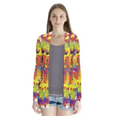 Crazy Multicolored Double Running Splashes Drape Collar Cardigan