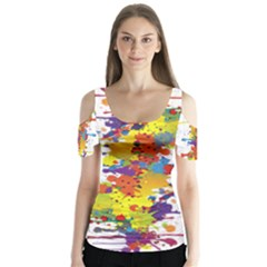 Crazy Multicolored Double Running Splashes Butterfly Sleeve Cutout Tee