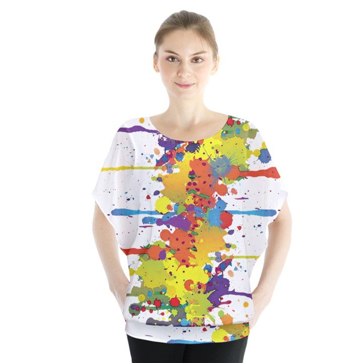 Crazy Multicolored Double Running Splashes Blouse