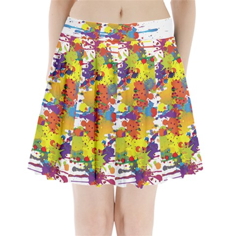 Crazy Multicolored Double Running Splashes Pleated Mini Skirt