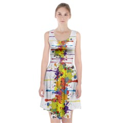 Crazy Multicolored Double Running Splashes Racerback Midi Dress
