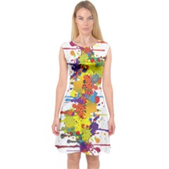 Crazy Multicolored Double Running Splashes Capsleeve Midi Dress