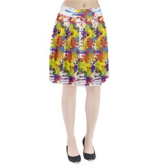 Crazy Multicolored Double Running Splashes Pleated Skirt