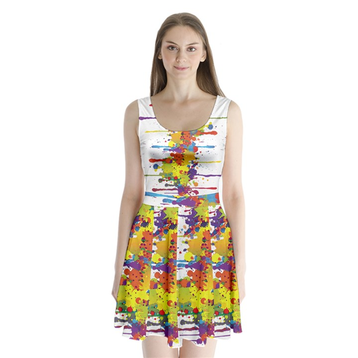 Crazy Multicolored Double Running Splashes Split Back Mini Dress