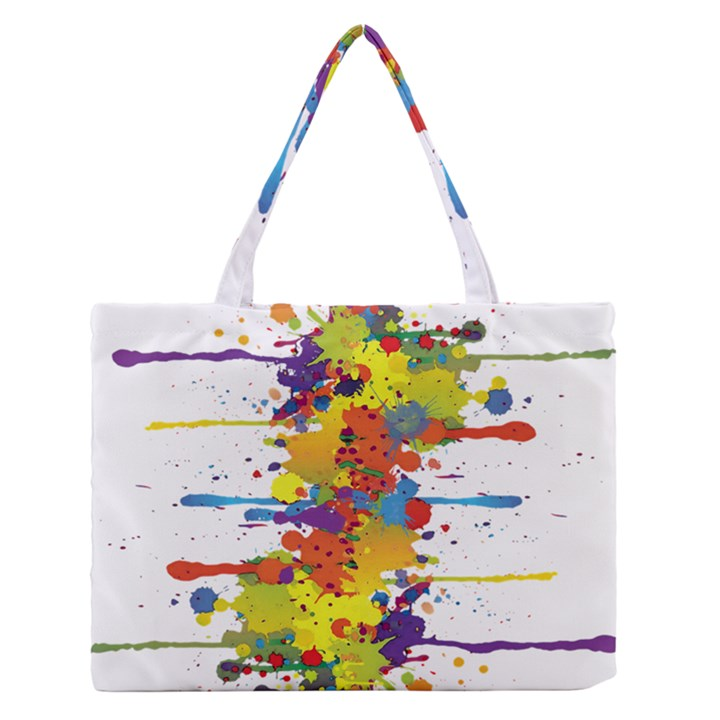 Crazy Multicolored Double Running Splashes Medium Zipper Tote Bag
