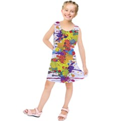 Crazy Multicolored Double Running Splashes Kids  Tunic Dress