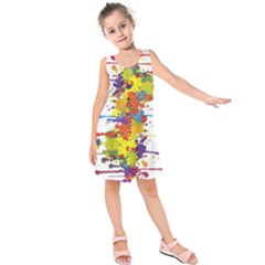 Crazy Multicolored Double Running Splashes Kids  Sleeveless Dress