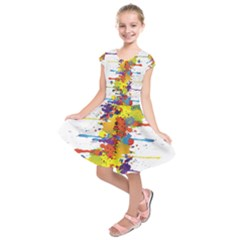 Crazy Multicolored Double Running Splashes Kids  Short Sleeve Dress