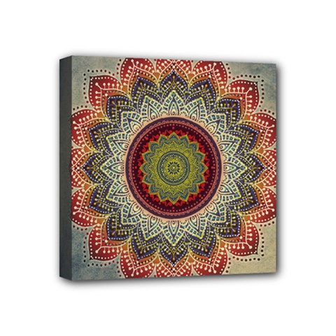 Folk Art Lotus Mandala Dirty Blue Red Mini Canvas 4  x 4