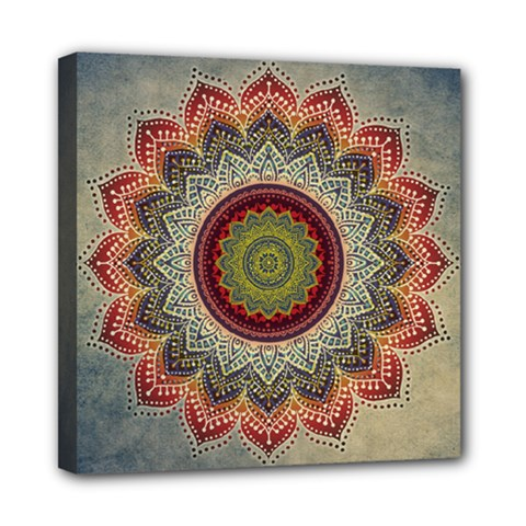 Folk Art Lotus Mandala Dirty Blue Red Mini Canvas 8  x 8