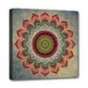 Folk Art Lotus Mandala Dirty Blue Red Mini Canvas 8  x 8  View1