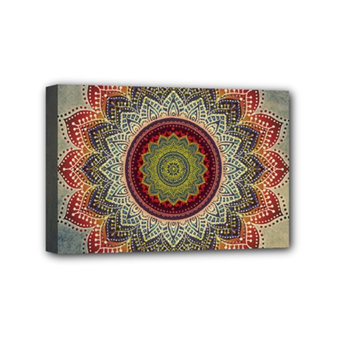 Folk Art Lotus Mandala Dirty Blue Red Mini Canvas 6  x 4