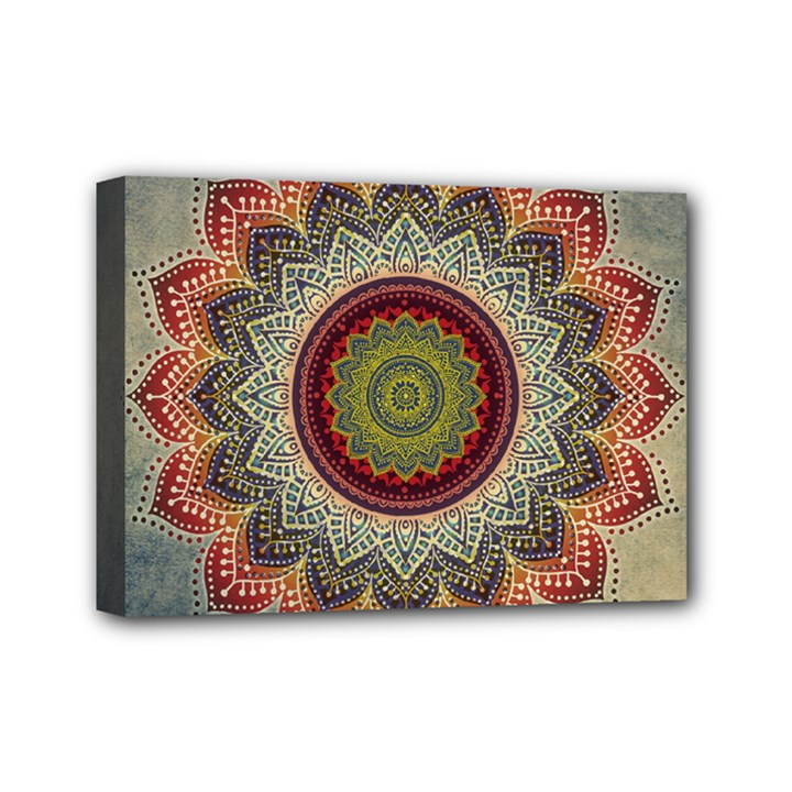 Folk Art Lotus Mandala Dirty Blue Red Mini Canvas 7  x 5