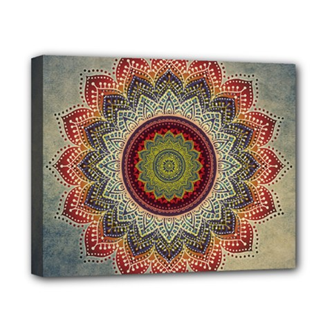 Folk Art Lotus Mandala Dirty Blue Red Canvas 10  X 8