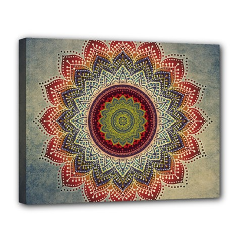 Folk Art Lotus Mandala Dirty Blue Red Canvas 14  X 11