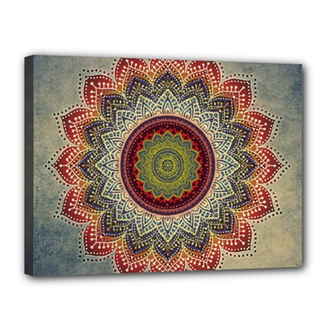 Folk Art Lotus Mandala Dirty Blue Red Canvas 16  X 12