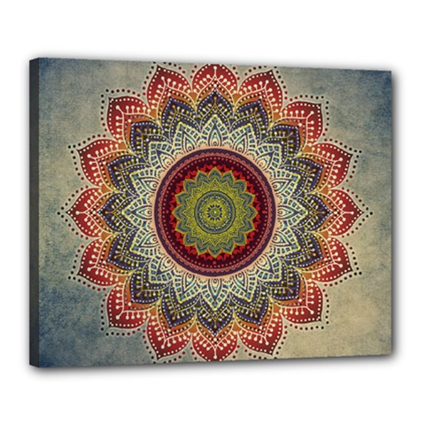Folk Art Lotus Mandala Dirty Blue Red Canvas 20  x 16