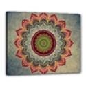 Folk Art Lotus Mandala Dirty Blue Red Canvas 20  x 16  View1
