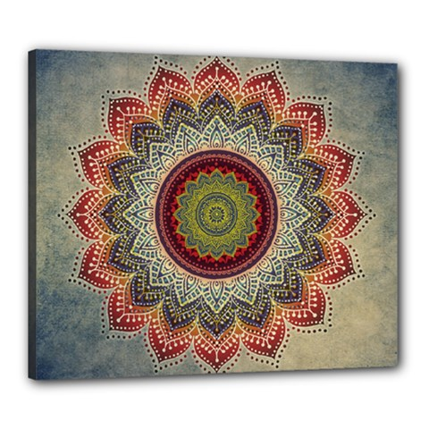 Folk Art Lotus Mandala Dirty Blue Red Canvas 24  X 20