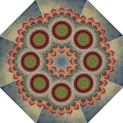 Folk Art Lotus Mandala Dirty Blue Red Folding Umbrellas