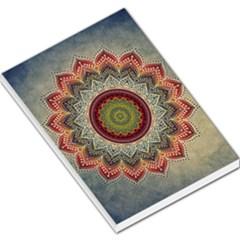 Folk Art Lotus Mandala Dirty Blue Red Large Memo Pads