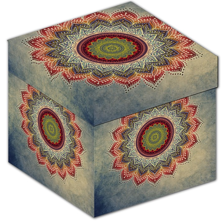 Folk Art Lotus Mandala Dirty Blue Red Storage Stool 12